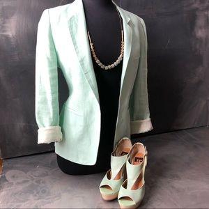 Joie Mint pastel green Linen Mehira Blazer size 8
